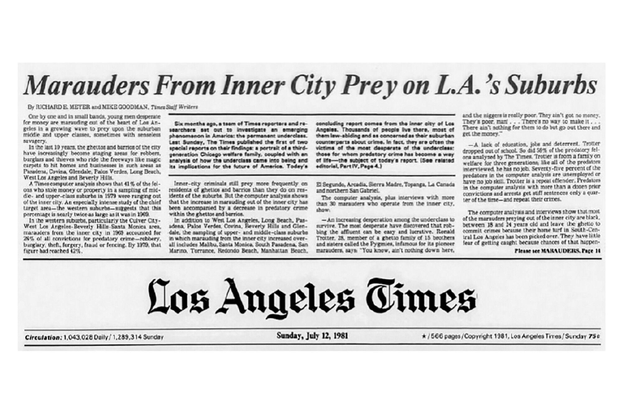 """Headline reads """"Marauders from inner city prey on LA's suburbs"""" at the top of a 1981 Los Angeles Times front page"""