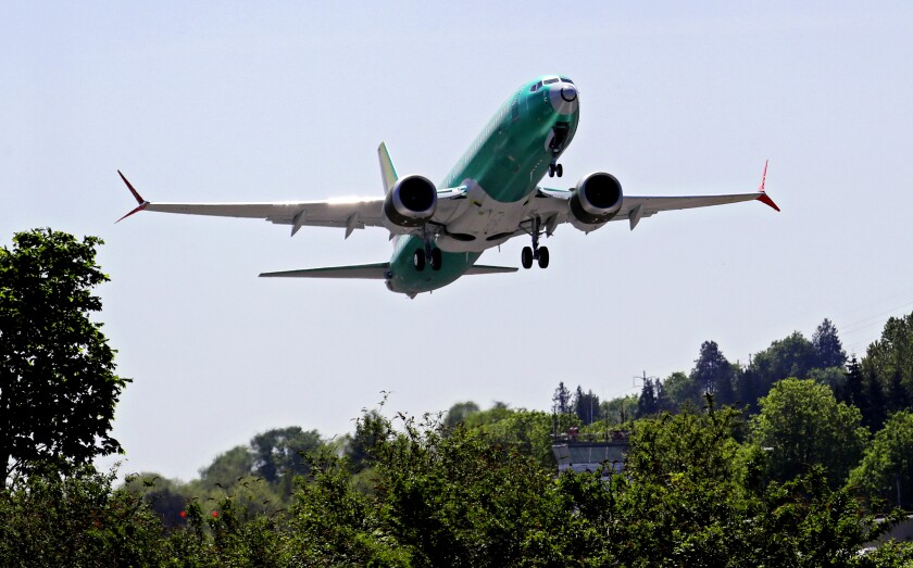 A Boeing 737 Max 8 jetliner takes off in Washington state in a file photo.