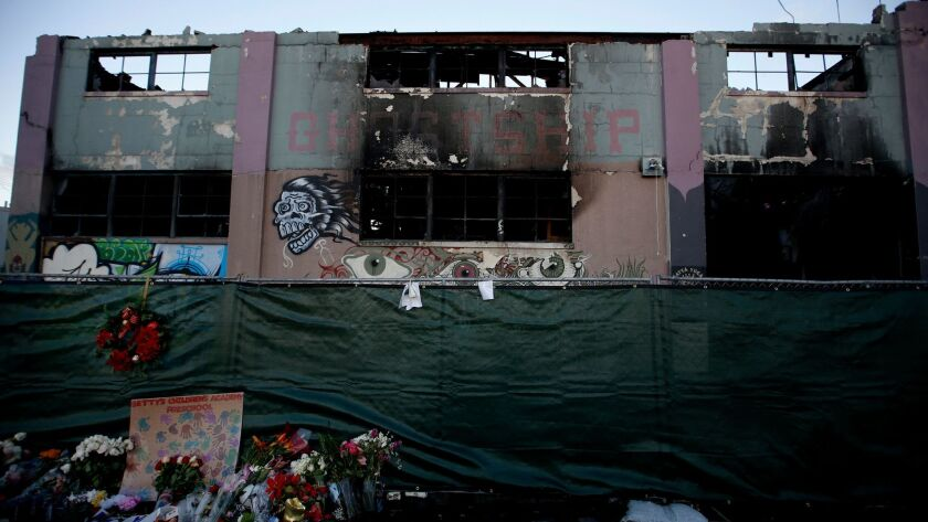 The Oakland artists' enclave known as the Ghost Ship warehouse, shown on Dec. 16, where a massive fire killed 36 people.