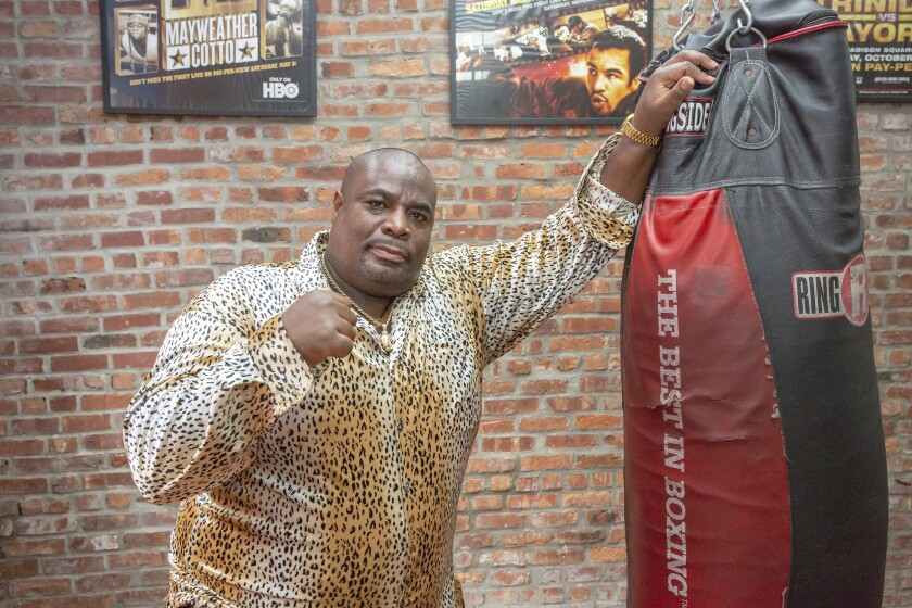 """Mitchell Rose at Gym X in Brooklyn last week. The former heavyweight """"boxing bum"""" from Brooklyn punched out an SUV's back window, saving six people in the smoke-filled vehicle Sept. 2."""