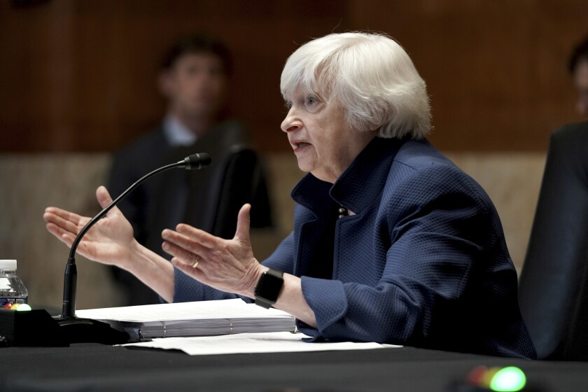 Treasury Secretary Janet Yellen testifies before a Senate Appropriations Subcommittee hearing to examine the FY 2022 budget request for the Treasury Department. Wednesday, June 23, 2021, on Capitol Hill in Washington (Greg Nash/Pool via AP)