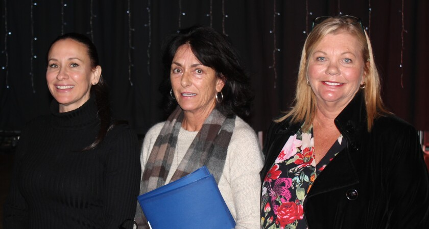 Non Toxic San Diego members Gina Felter, Teresa Craig and Anne Jackson Hefti following their presentation at the PB Town Council meeting in November at Crown Point Junior Music Academy.