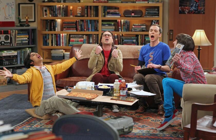 "Kunal Nayyar, left, Johnny Galecki, Jim Parsons and Simon Helberg in ""The Big Bang Theory."""