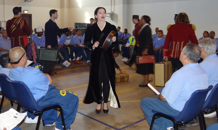 The Countess (Meaghan Boeing) and Globe For All cast entertain inmates at Centinela State Prison with Shakespeare's 'All's Well That Ends Well.'