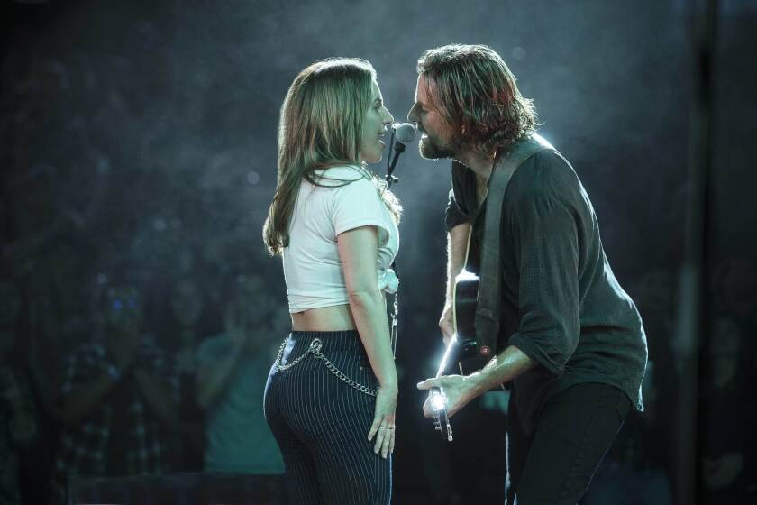 "Lady Gaga and Bradley Cooper in a scene from ""A Star Is Born."""