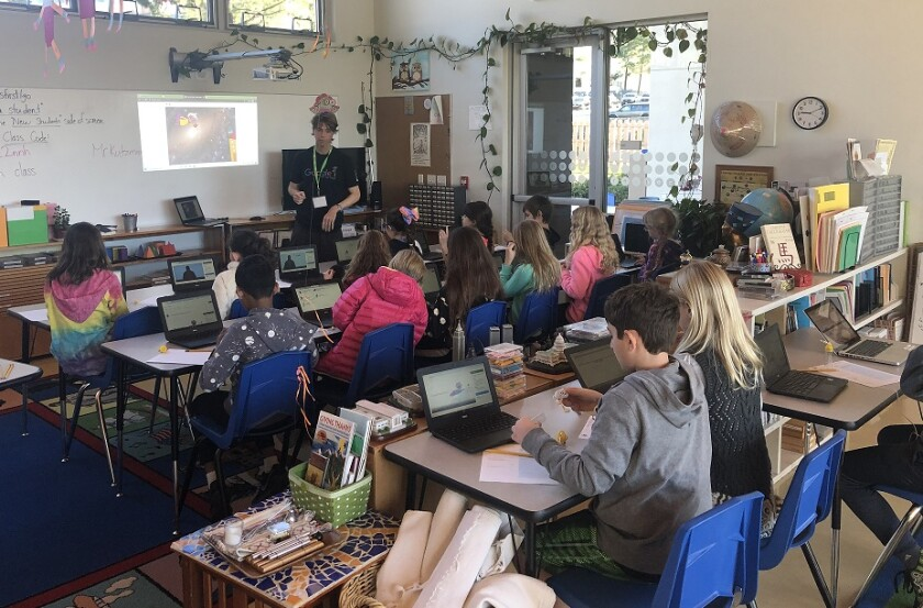 """Country Montessori School students in Poway took part in the worldwide """"Hour of Code"""" recently."""