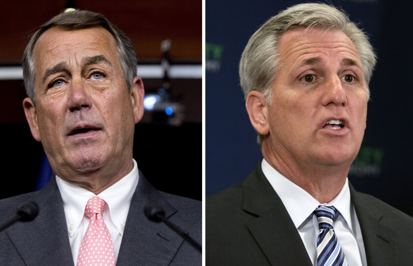 House Speaker John A. Boehner, left, announced he was resigning from his post at the end of October. House Majority Leader Kevin McCarthy is expected to succeed him. If so, he'd be the second House speaker from California in less than a decade.