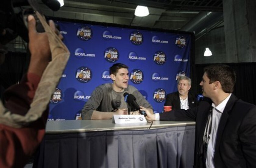Butler's Andrew Smith answers a question before a practice session for a men's NCAA Final Four semifinal college basketball game Thursday, March 31, 2011, in Houston. Butler plays Virginia Commonwealth on Saturday. (AP Photo/David J. Phillip)