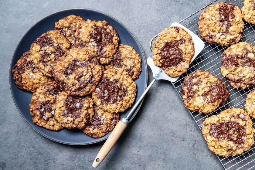 Eat the cookies warm for melty chocolate chunks.
