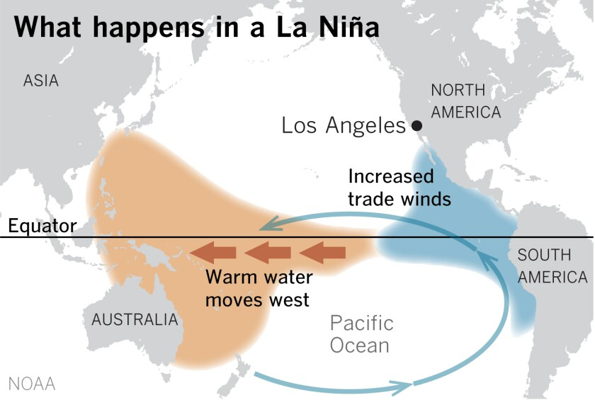 Stronger trade winds push warm surface water into the western Pacific.