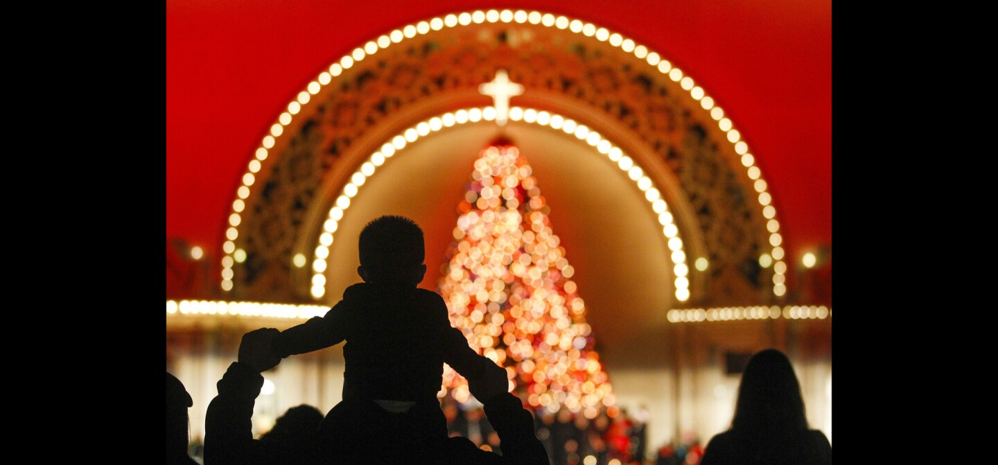 Dylan Hernandez, 20-months-old, sits on the shoulders of his father Ernesto Hernandez, from Chula Vista, as they look at the Christmas tree at the Spreckels Organ Pavilion during December Nights at Balboa Park.