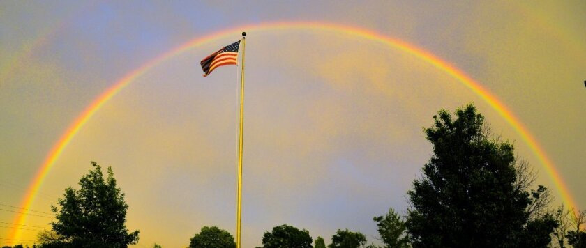 rainbow and flag