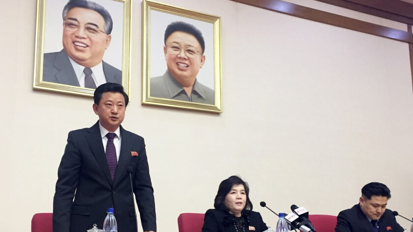 North Korean Vice Foreign Minister Choe Son Hui, center, speaks at a gathering for diplomats in Pyon