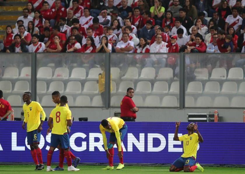 Enner Valencia from Ecuador celebrates a 2-0 win against Peru Nov. 15, 2018 in a friendly match between Ecuador and Peru at the Nacional stadium in Lima (Peru). EPA-EFE FILE/Ernesto Arias
