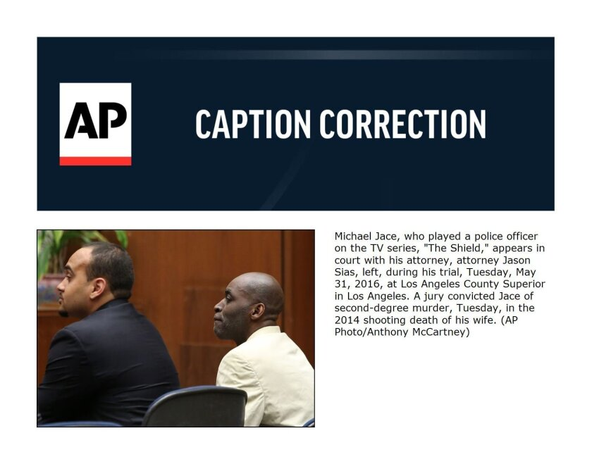 """Michael Jace, who played a police officer on the TV series, """"The Shield,"""" appears in court with his attorney, attorney Jason Sias, left, during his trial, Tuesday, May 31, 2016, at Los Angeles County Superior in Los Angeles. A jury convicted Jace of second-degree murder, Tuesday, in the 2014 shooti"""