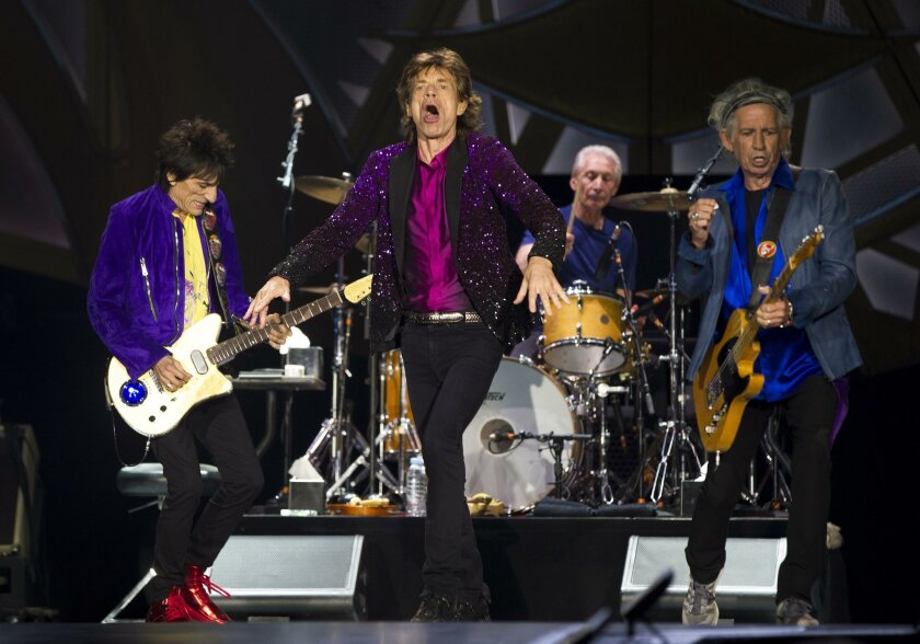 """The Rolling Stones are shown performing at the opening show of their 2015 """"Zip Code"""" tour at San Diego's Petco Park. The fabled band will return to San Diego in May to open its 2020 """"No Filter"""" tour at SDCCU Stadium in Mission Valley. Pictured above are, from left, Ron Wood, Mick Jagger, Charlie Watts and Keith Richards."""