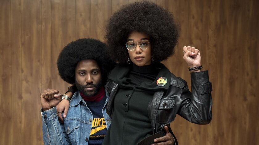 "John David Washington and Laura Harrier in ""BlacKkKlansman."" MUST CREDIT: Photo David Lee -- Focus F"