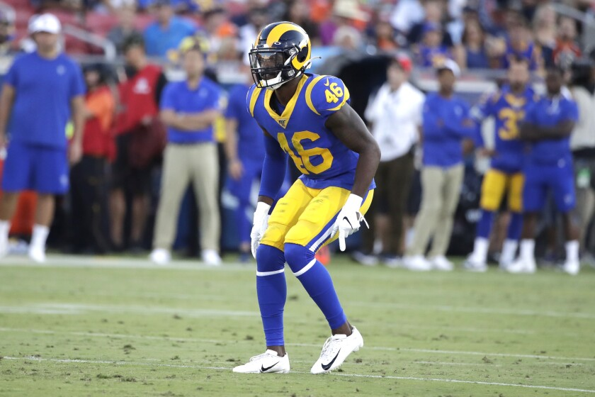 Rams defensive back Nick Scott during a preseason game against the Denver Broncos on Saturday.