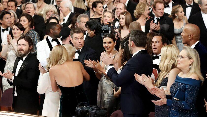 "Matt Damon reacts when ""Moonlight"" is revealed as the best picture winner."