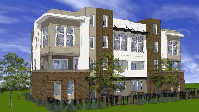 Artist's rendering of townhomes to be built in San Elijo Town Center.