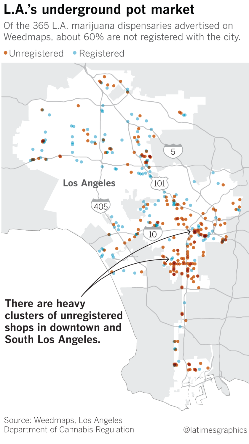 Black market cannabis shops thrive in L A  even as city