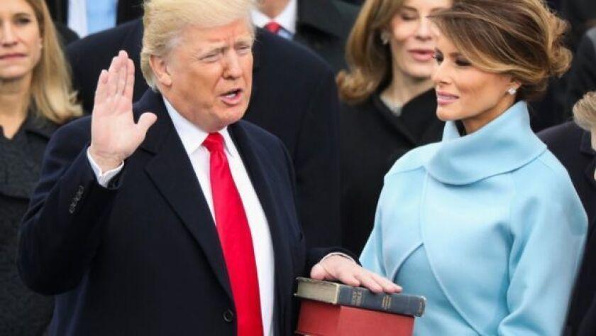 Donald Trump durante su toma de posesión el 20 de enero de 2017.