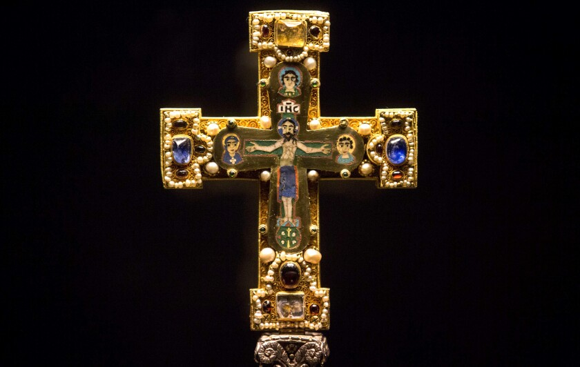 In this Jan. 9, 2014, file photo, a medieval Cross, part of the Welfenschatz, is displayed at the Bode Museum in Berlin.