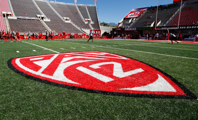 The Pac-12 logo in Rice Eccles Stadium in Utah.