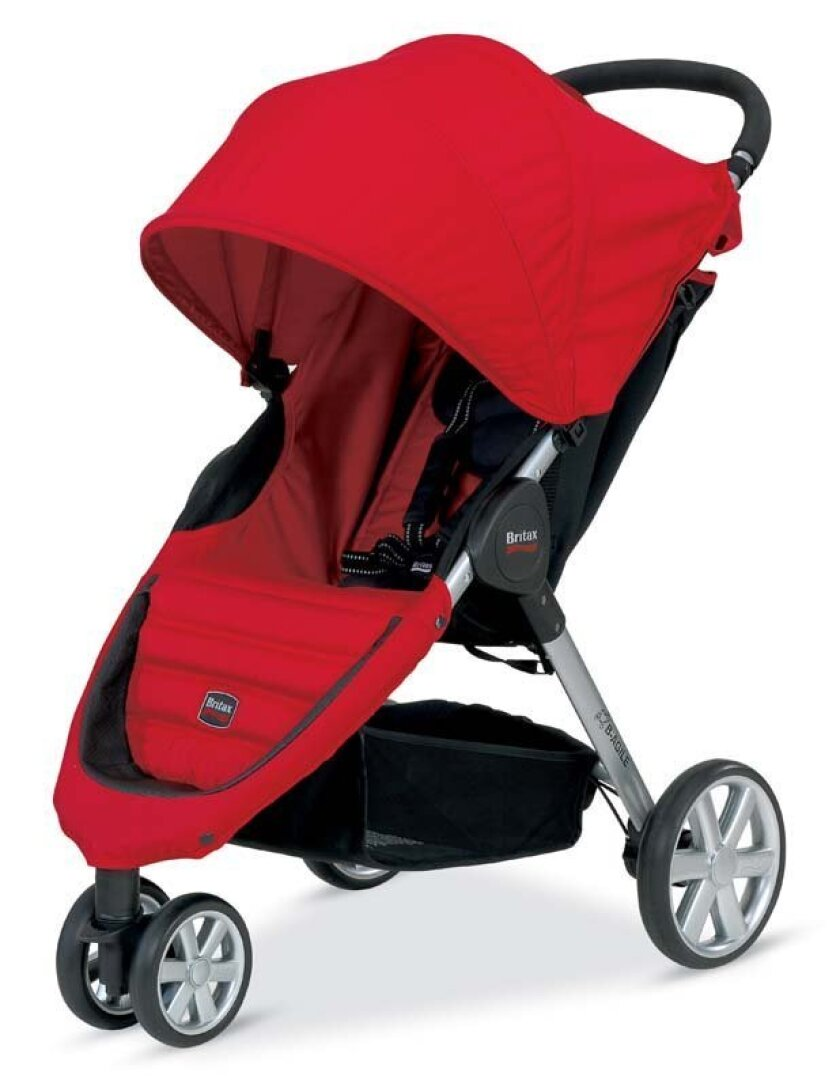 This photo provided by the U.S. Consumer Product Safety Commission shows a Britax B-Agile stroller being recalled January, Jan. 31, 2014. The hinge on the stroller's folding mechanism can partially amputate consumers' fingertips, break their fingers or cause severe lacerations, among other injuries