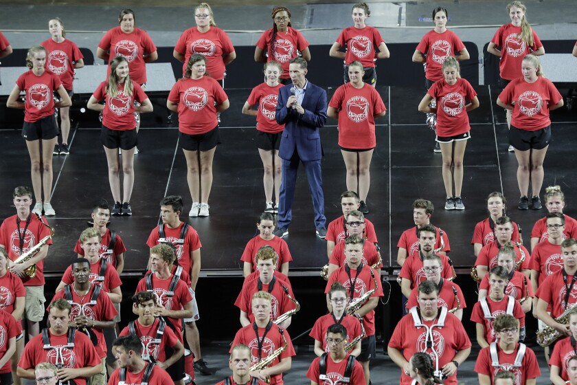 Liberty athletic director Ian McCaw speaks at a freshman class pep rally at Liberty University a few days before the official start of a new school year.