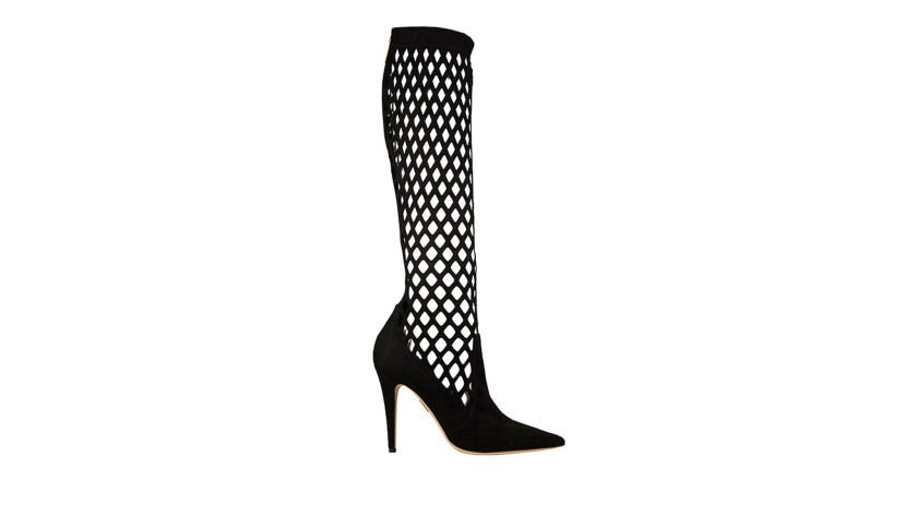 The Moriyama, a 105-millimeter laser cut synthetic suede ankle boot, $695, at TamaraMellon.com.