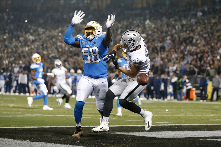 Chargers linebacker Thomas Davis breaks up a pass intended for Raiders receiver Hunter Renfrow during a game Nov. 7.