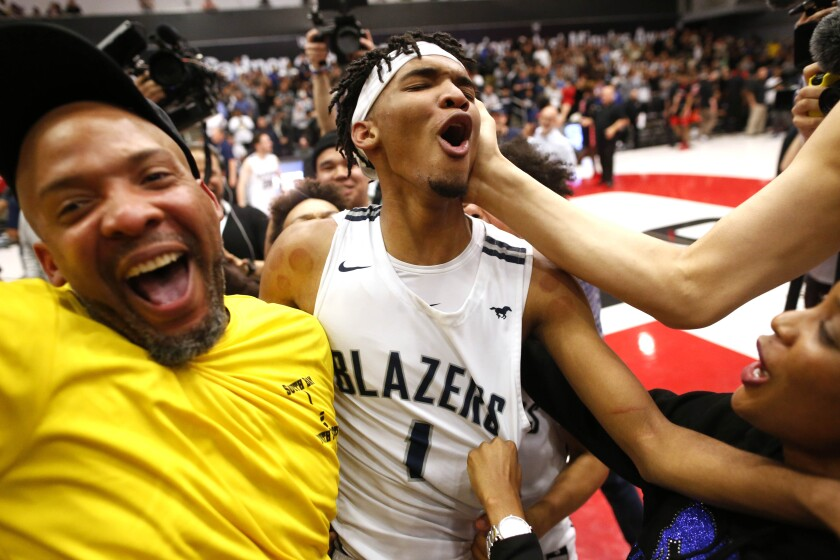 Ziaire Williams (1) and his Sierra Canyon teammates won the Southern California Open Division championship on March 10, 2020, over Etiwanda but will not get a chance to win a third consecutive state title because the championships were canceled this weekend because of the coronavirus outbreak.