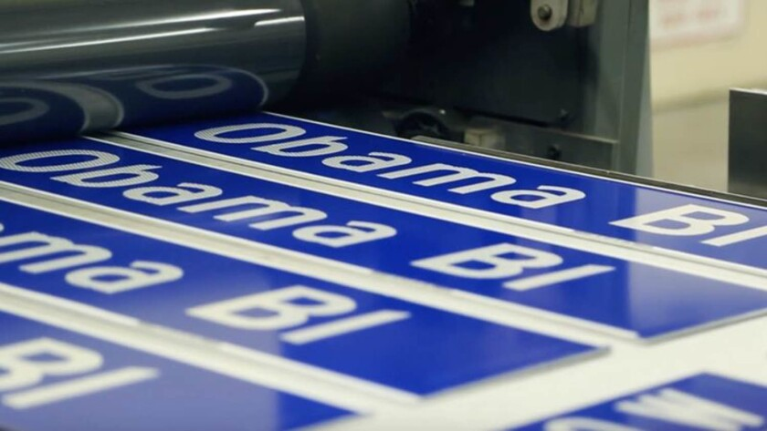 Obama Boulevard signs being made. On Saturday May 4, 2019, the city of Los Angeles formally changes