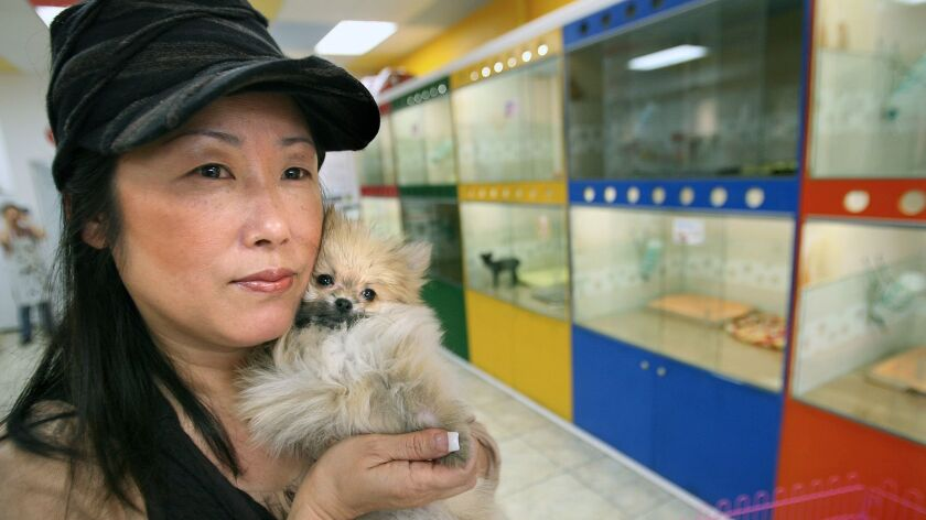 Tina Ro, owner of Puppy Love pet store holds a Pomeranian in La Mirada on Nov. 8, 2007.