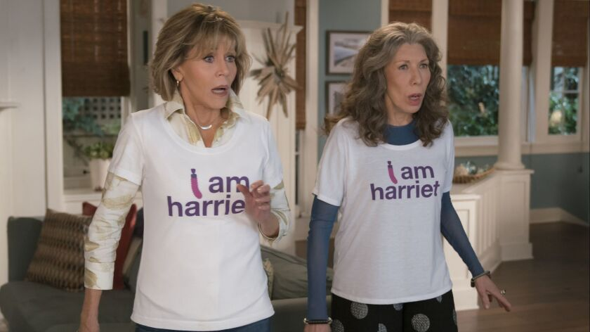 """Jane Fonda, left, and Lily Tomlin in a scene from season 4 of """"Grace And Frankie."""""""