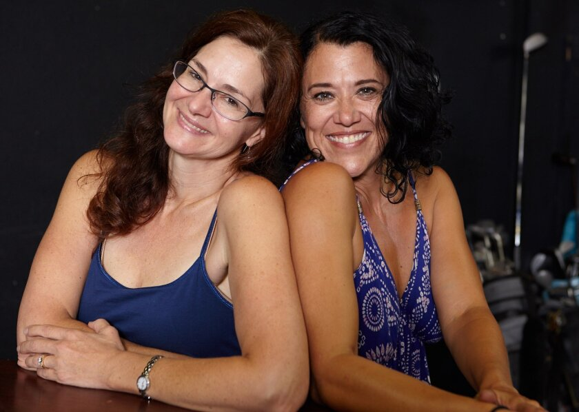 Pamela (Jacquelyn Ritz) and Muriel (Roxane Carrasco) in 'The Fox on the Fairway' at North Coast Repertory Theatre, Sept. 9-Oct. 4.