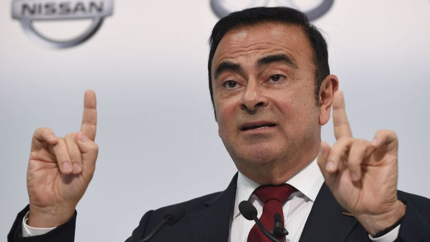 Former Nissan Chairman Carlos Ghosn speaks during the company's financial results press conference in Yokohama, Japan, in 2015.