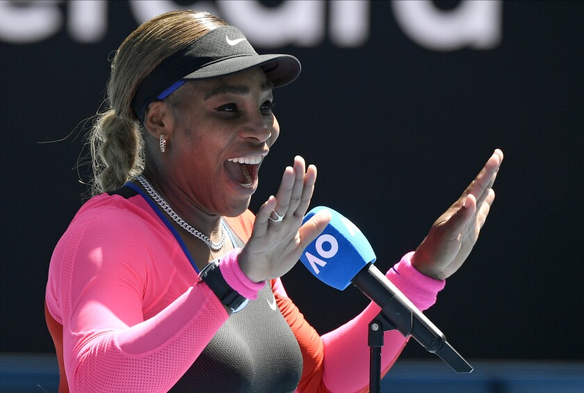 United States' Serena Williams gestures as she is interviewed following her third round win over Russia's Anastasia Potapova at the Australian Open tennis championship in Melbourne, Australia, Friday, Feb. 12, 2021.(AP Photo/Andy Brownbill)