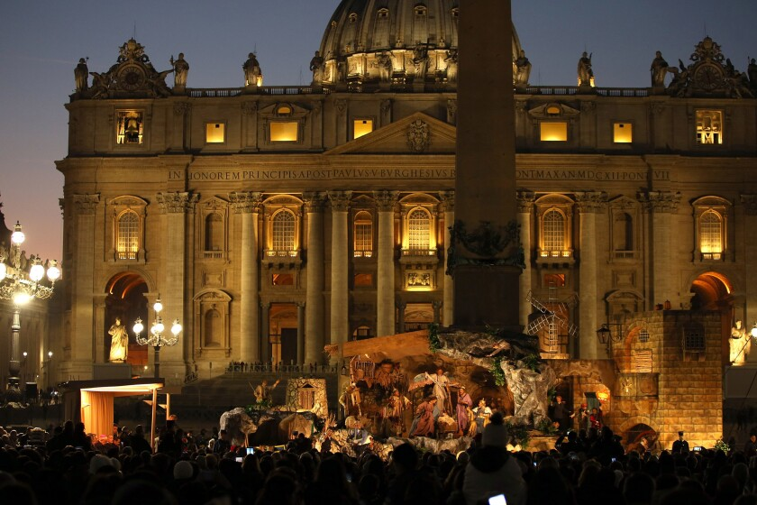 The Nativity scene in St. Peter's Square is lit up on Dec. 9, 2016, in Vatican City.