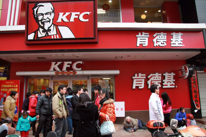 A KFC restaurant in downtown Wuwei, Anhui Province, in central China in 2009.