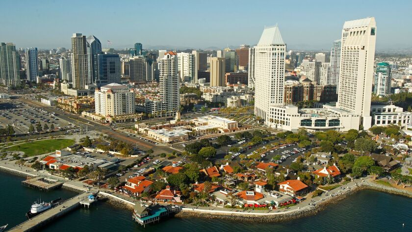 April 14, 2014 - San Diego, California, USA - | Seaport Village, Manchester Grand Hyatt Hotel, and
