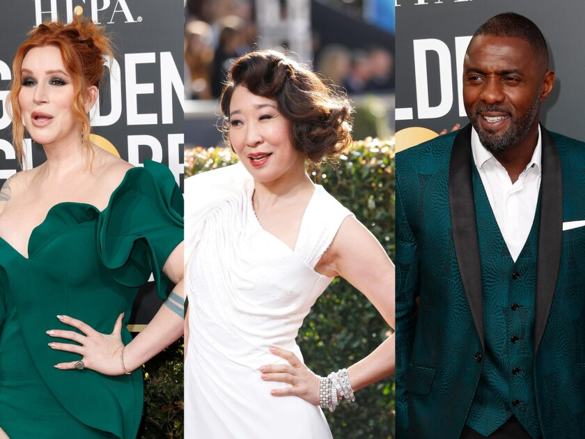 The best and worst looks of the 2019 Golden Globe Awards. From left: Our Lady J, Sandra Oh and Idris Elba.