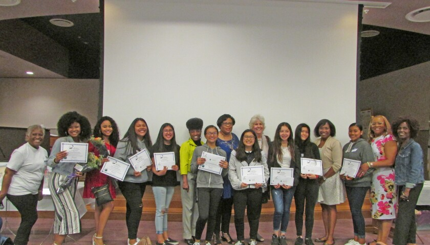 """The North County African American Women's Association recently completed the fifth year of its """"Becoming a Global Citizen"""" program for young girls. Pictured are Jefferson Middle School students and their mentors from the program."""