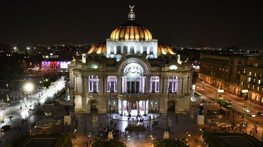 MEXICO CITY, MEXICO FEBRUARY 20, 2018-A view from the Sears building of the Palacio de Bellas Artes