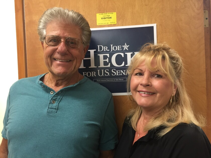 Frank Barbera and Nanci Meek stopped by to volunteer for Republican Joe Heck.
