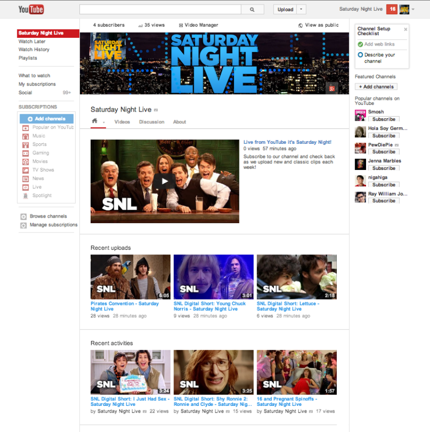 """A screenshot of """"Saturday Night Live's"""" new YouTube channel for international audiences, managed by the Venice, Calif., company ZEFR."""
