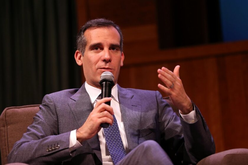 Mayor Eric Garcetti, seen earlier this year, spoke on the phone Wednesday with President-elect Donald Trump, according to a statement from Garcetti's office.