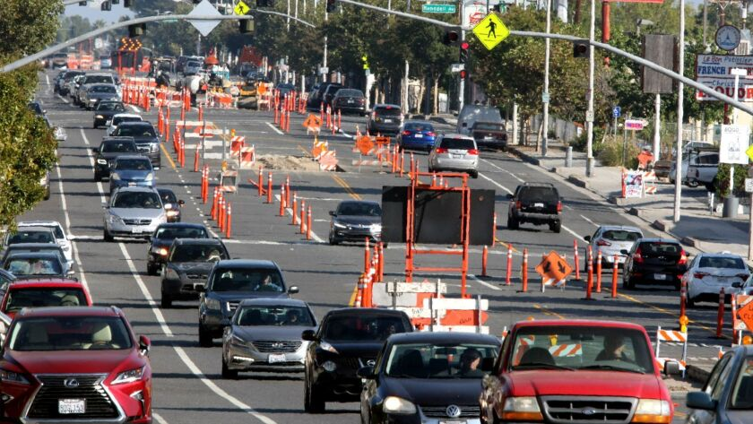 Traffic backs up on Foothill Boulevard in La Crescenta on Monday. The road was reduced to one lane in each direction due to construction in the unincorporated community.