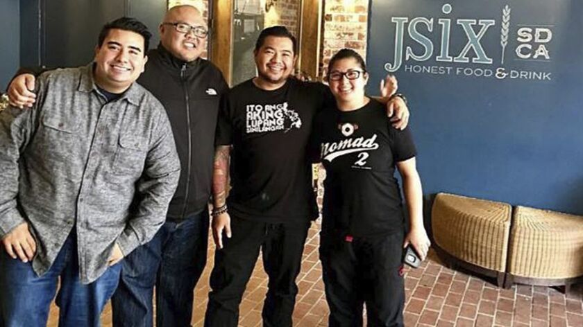 "From left: Anthony Sinsay of Jsix Restaurant, Evan Cruz of Arterra Del Mar, Danilo ""DJ"" Tangalin of Tidal and Kristianna Zabala of Nomad Donuts."
